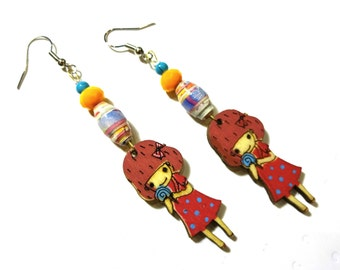 Paper Βead Quilled Εarrings Unique Recycled Handmade Greek Jewelry Glass Beads Quilling Paper Beads Wooden Girl With Lollipop Gift For Her