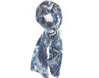 Pale Denim Blue Silk Velvet Large Scarf/Shawl