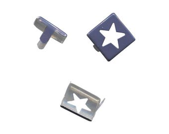 Set of 5 claw nails rivets square 15mm painted metal star cutout Navy