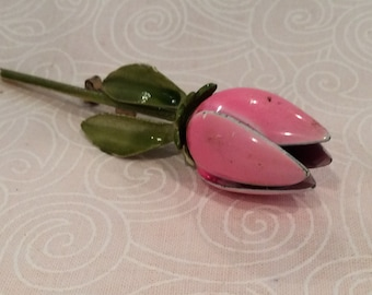 Vintage Pink Enamel Rose Bud Flower Brooch with Green Leaves, Roses,1960s Fashion Costume Jewelry