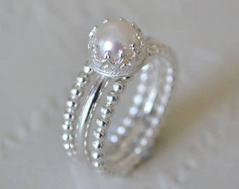Freshwater Pearl & Sterling Silver Crown Stacking Ring Set. Pearl Ring. Stacking Rings. White Pearl. Crown Set Ring. Wedding. Pearl Rings.