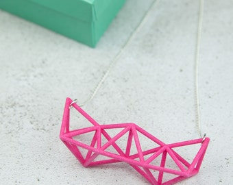 Pink Geometric Statement Necklace, 3D Printed Necklace, Geometric Necklace, Tetrahedron Necklace