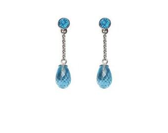 Silver blue topaz briolette drop earrings
