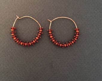 Swarovski Crystal with Copper Hoops Earrings FREE SHIPPING