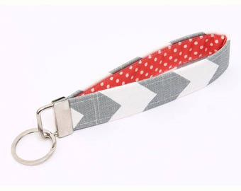 Fabric Key Fob, Key Chain Wristlet, Key Grabber, Handmade Key Holder, Women's Key Wristlet - gray chevron coral red dots