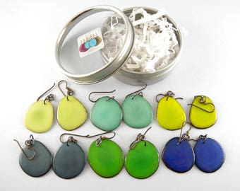 Blue n Green Fashion Colors 6 Pair Compact Travel Pack Tagua Nut Eco Friendly Earrings with Free USA Shipping #taguanut #ecofriendlyjewelry