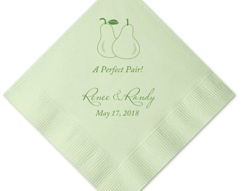 100 Personalized Napkins Beverage & Luncheon Size Available Personalized Napkins Wedding Napkins Custom Monogram Perfect Pair