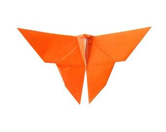 1 Orange Origami Butterfly Orange Color , Paper Decoration