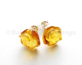 Baltic Amber Stud Earrings, Honey Color Roses