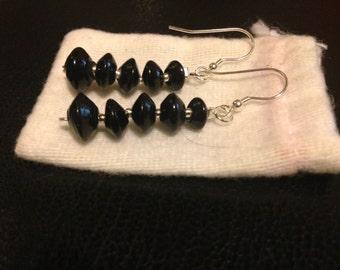 Black glass bead earrings