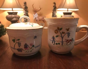 Vintage Heartland Sugar Bowl & Lid With Creamer Set by International