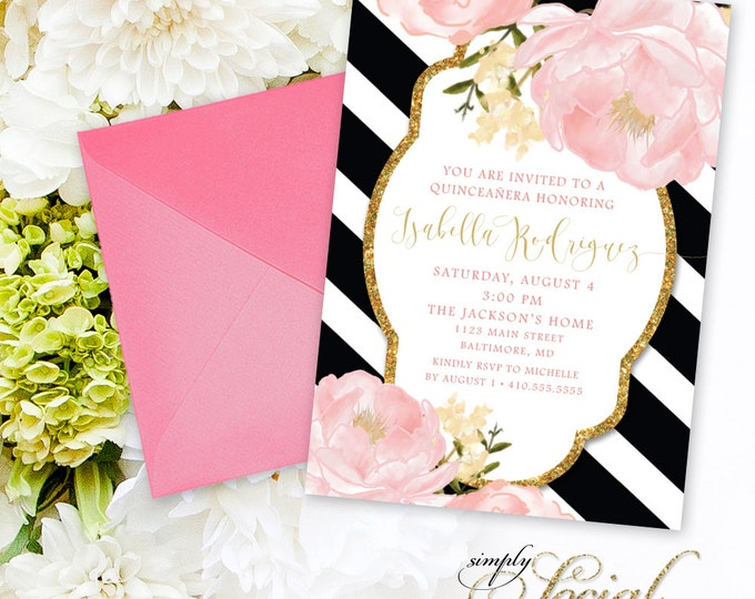 Quinceañera Invitation - Birthday Peony Flowers Blush Pink and Gold Black and White Stripes Custom Personalized PRINTABLE