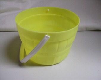 Vintage Easter 60s Hard Plastic Easter Basket Pail Bucket Yellow Decoration