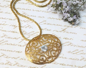 Gold Necklace, Gold Statement Necklace, Gold Jewelry, New York Necklace,  Gold Bib Necklace,  New York Necklace, Filigree Jewelry