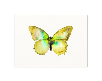 Green / Yellow Watercolor Butterfly Art Print. Butterfly Decor. Butterfly Painting. Watercolor Butterfly Gallery Wall Art Print. Nursery Art