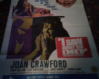 """Joan Crawford 1 sheet poster """"I Saw What You Did"""""""