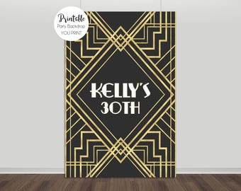 Great Gatsby Backdrop, Art Deco Backdrop, Great Gatsby Party, Gatsby Birthday, Gatsby Backdrop, Photo Backdrop, Black & Gold, YOU PRINT