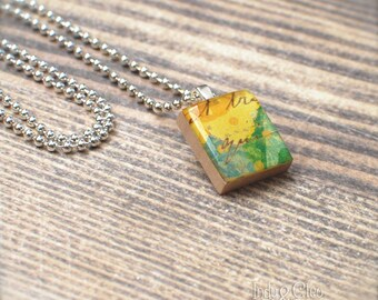 Abstract Floral Scrabble Necklace, Yellow Flower Handmade Scrabble Tile Art Pendant, Wood Pendant, Charm, Scrabble Jewelry, Tiny Jewelry
