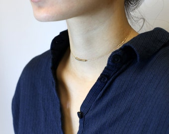 Beaded Choker Necklace in Gold filled and Sterling Silver