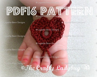 Heart barefoot baby sandals - crochet pattern for newborn to toddler sizes - PDF16