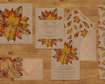 Autumn Leaves Watercolour Wedding Invitations Stationery Set - Printed or Digital Download - Kraft Paper - Fall Wedding - Wedding Printable