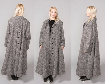 Magnificent 50's Swing Coat Huge Full Skirt Striped Houndstooth Zig Zag Black White Oversized  XS small Medium Large XL wool mod Maxi Length