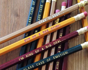 12 ANCHORMAN Engraved Pencil Pack, stay classy, funny gifts, gifts for dad, stocking, holiday gift, Ron Burgundy, movie quotes, funny pencil