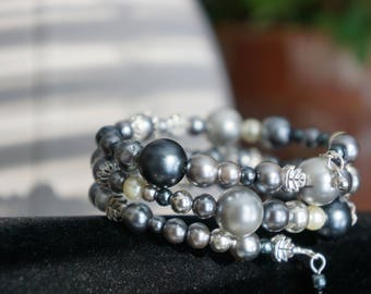 Silver Lining: gray pearls and silver accent beads
