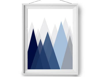 Wall Art, Blue Navy Art Print, Mountain Print, Scandinavian Art, Minimal Art, Abstract Print, Wall Decor, Modern Art, 60x90 cm, Print Avenue