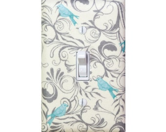 Bird Light Switch Plate Cover / Aqua Gray Nursery Decor / Kids Girls Room /  Timber & Leaf Birds Flora Ivory