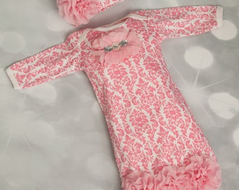 Infant Pink Damask Layette Cotton Baby Gown with Pink Chiffon Flowers and Rhinestones