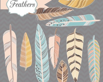 50% OFF SALE! Instant Download -Feathers: Digital Clipart Set