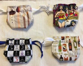 Dice bag / knitting notions / change purse / drawstring bag, fully reverseable - Wonder Woman, Towers, Emoticons, Beer-themed
