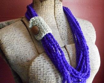 Gypsy Witch. Crochet Necklace String Infinity Scarf Autumn Fashion Crochet Skinny. amethyst grape purple Celery Green vintage button slide