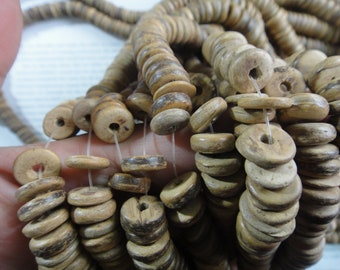 Large 2.5mm hole, 10mm tumbled coconut heishi beads, 15.5 inch