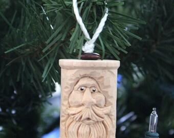 Spool Santa Woodcarved ornament