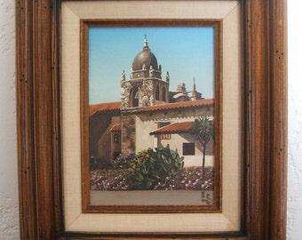 Oil Painting of the Mission San Carlos Borroméo del río Carmelo (Carmel Mission) by Eugene Schmidt