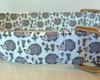 """Hedhogs Dog Collar - Unisex Dog Collar - Hedhogs on White Woodland Collar - """"Lil-Hedgy"""" - Free Colored Buckles"""