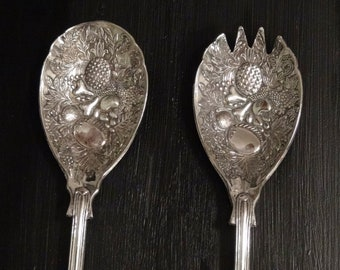 English Silverplated Serving Spoon and Fork