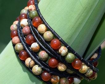 Triple Strand, Jasper, Unikite, and Carnelian Leather Wrap Bracelet, Wrap Bracelet, Leather Bracelet, Beaded Leather Bracelet, Jewelry