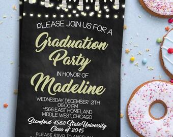 Graduation Invitation, Graduation party, graduation invite,graduated, graduation celebration, graduate celebrating invite, chalkboard