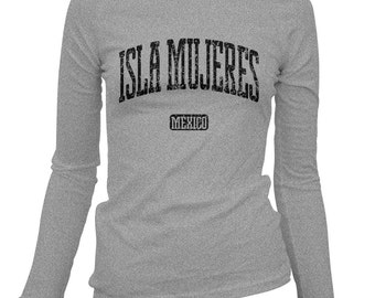 Women's Isla Mujeres Long Sleeve Tee - S M L XL 2x - Ladies' T-shirt, Gift, Mexico, Mexican, Vacation, Travel, Beach, Island  - 2 Colors