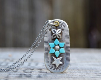 Turquoise Tag Sterling Silver Necklace . Vintage Turquoise . Reclaimed Silver  . Hand Forged . Sterling Necklace.Rustic. Necklace.