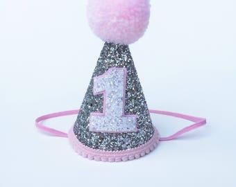 First Birthday Hat | 1st Birthday | Baby first birthday hat | Silver Glitter hat | cake smash| First Birthday party hat | 12 months old