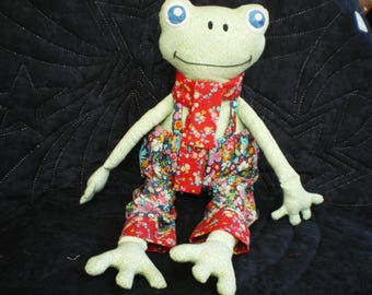 Plush frog green patchwork fabric