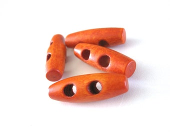 Wood toggle button 4 small orange buttons 3 x 1cm