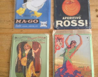 4 Reproduction Spanish Advertising Plaques on Tin Plate