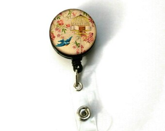Bird Flying From Cage Image Retractable ID Name Holder Badge Reel Clip On Nurse