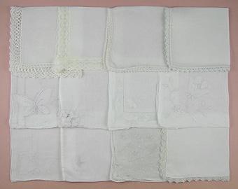 Vintage Hanky Lot,Wedding Hanky Lot,One Dozen White Wedding Vintage Hankies Handkerchiefs (Lot #92)