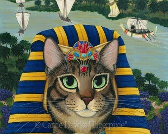 Egyptian Cat Pharaoh Cat Art Cat Painting Egypt Bast Cat King of Pentacles Bastet Fantasy Cat Art Print 5x7 Cat Lovers Art